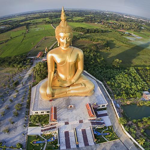 statue landscape thailand buddha buddhist uav aerialphotography fromtheair goldenbuddha drone angthong quadcopter watmuang multirotor djiphantom
