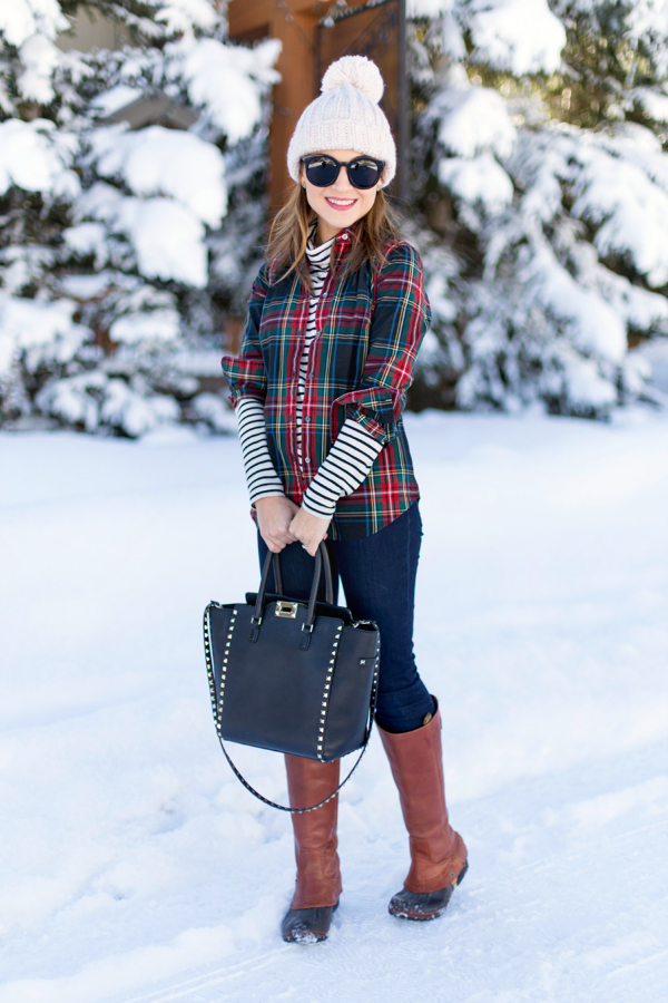Plaid + stripes + Sorels