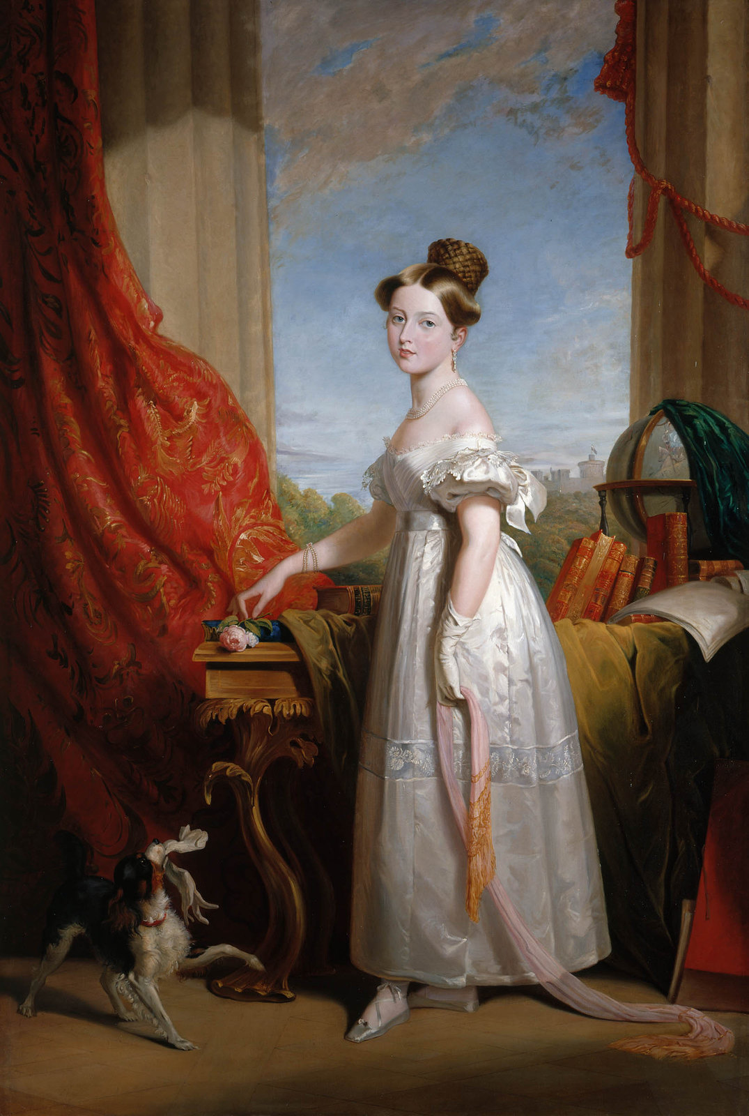 Portrait of Princess Victoria of Kent (later Queen Victoria, Empress of India) with her spaniel Dash after George Hayter