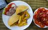 vegetarian burger/tomato salad (£1.20) and Kindle: Ajay's, Delhi