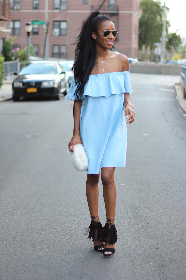 Denim Off The Shoulder Dress