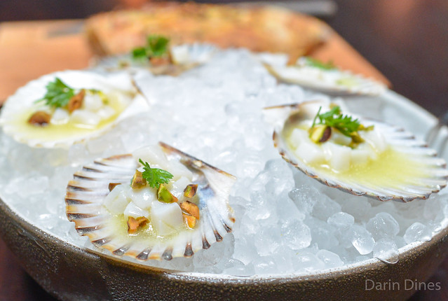 BAY SCALLOPS MARINATED WITH YUZU & PISTACHIO