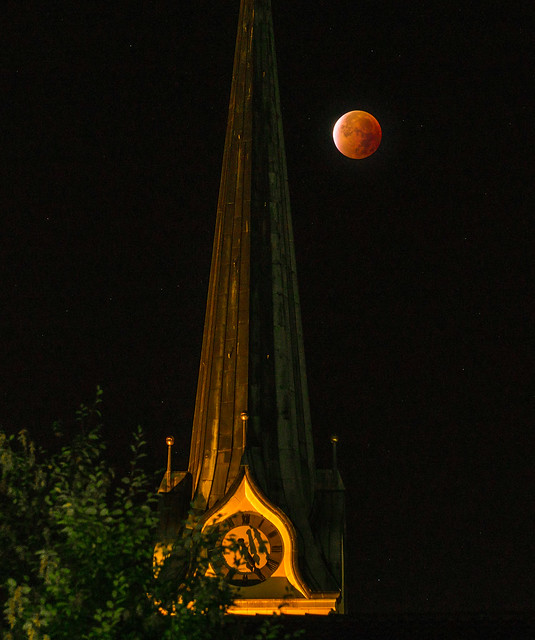 Super Blood Moon over Eusebius Church in Grenchen