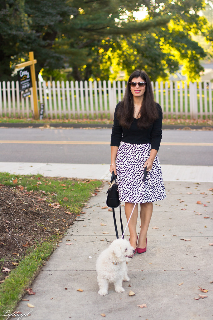 black and white Dalmatian print skirt, black top, red pumps.jpg