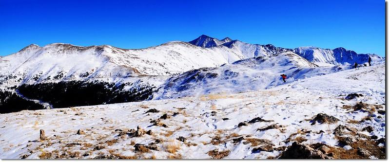 Overlooking east onto Loveland Pass East Ridge from 12,479' Point 1