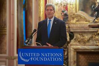 Secretary Kerry Discusses Oceans Issues During a United Nations Foundation Breakfast in Paris Amid The COP21 Climate Summit