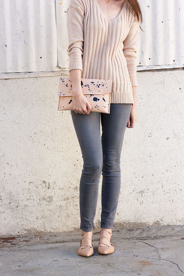 Tan and Grey outfit, Leather Clutch, Grey jeans