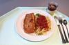 """Coalfish filet """"piccata milanese"""" with tomato sauce & spaghetti / Seelachsfilet """"Piccata Milanese"""" mit Tomatensugo & Spaghetti"""