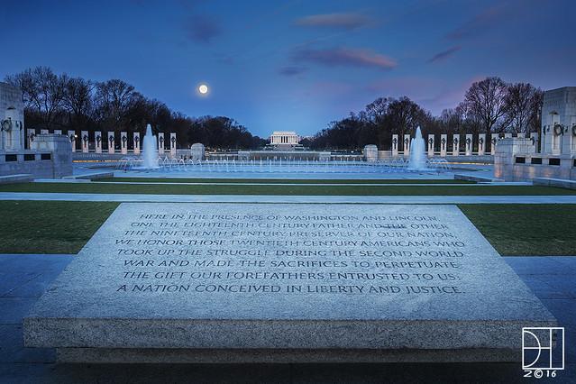 Moonset Over World War II Memorial