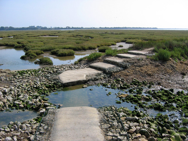 Broken path around Pagham Harbour