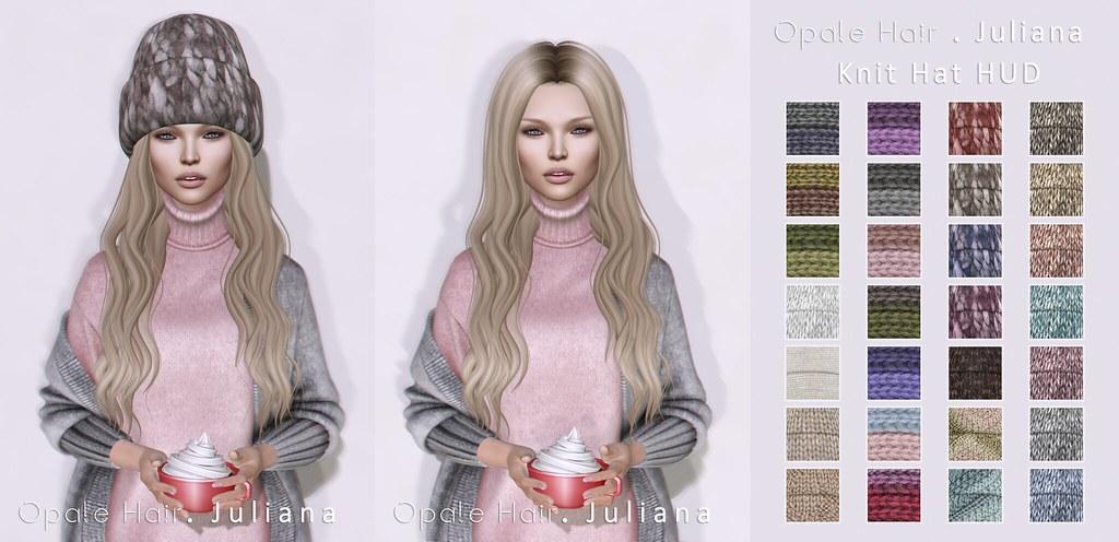 Opale Hair .  Juliana . Knit Hat @ The Seasons Story January 2017 - SecondLifeHub.com