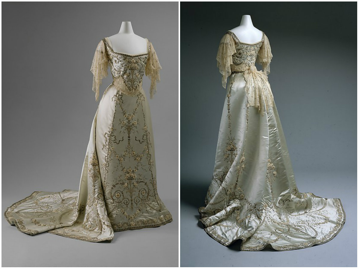 1900. Ball Gown. Silk, cotton, metallic thread, glass, metal. metmuseum