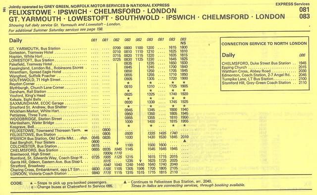 June 1983 GreyGreen, Norfolk Motor Services & National Express Route 081 & 083 Felixstowe Gt. Yarmouth - London