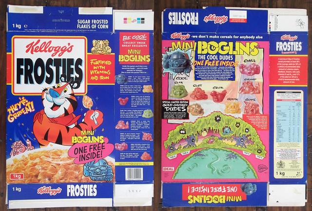 1994 Kellogg's UK Frosties Boglins cereal box