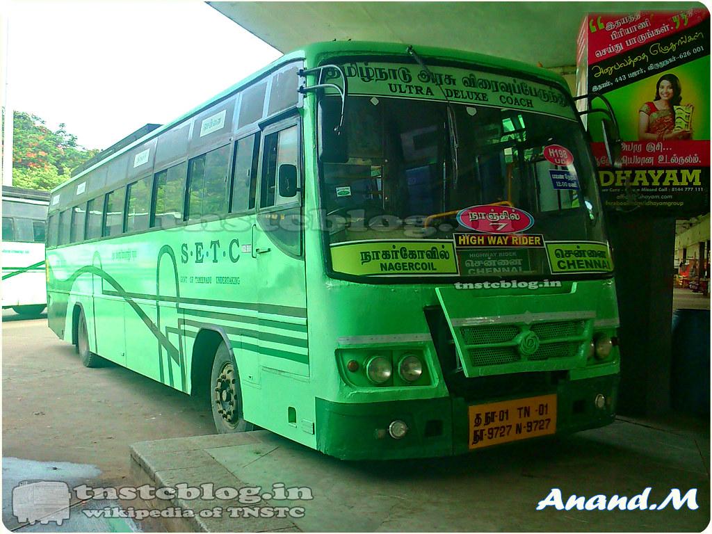 TN-01N-9727  Nanjil 7 of Nagercoil Depot Route H198 Nagercoil - Chennai via Tirunelveli, Madurai.