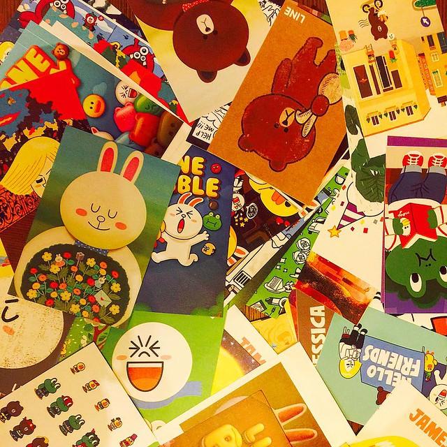 全套 LINE 明信片都寄出了,希望朋友們會收到啦!日本的朋友今次就沒寄了!��