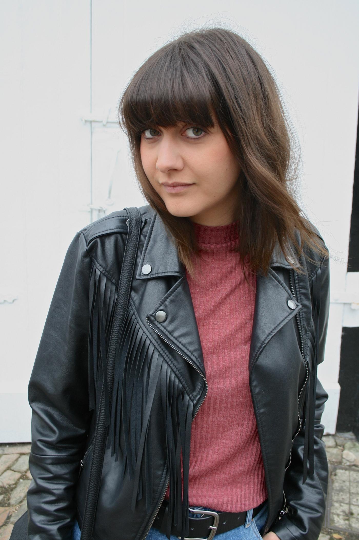 leather jacket with fringing