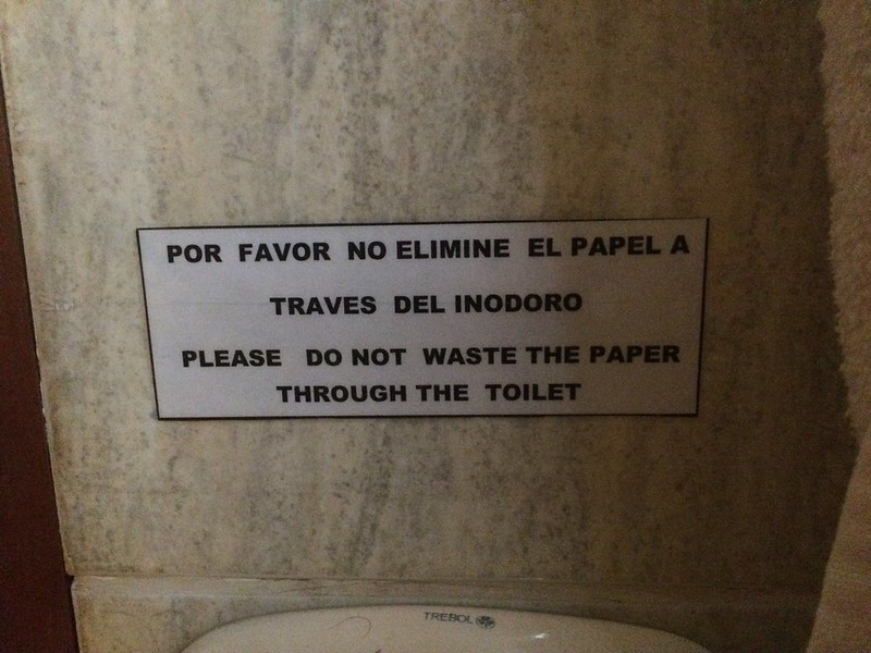 Sign in hotel bathroom.