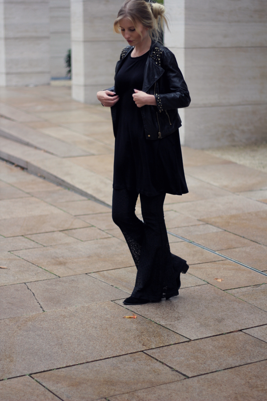 outfit all black flares autumn asos zara