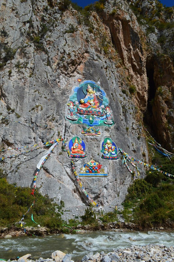 Buddha painting on a mountain