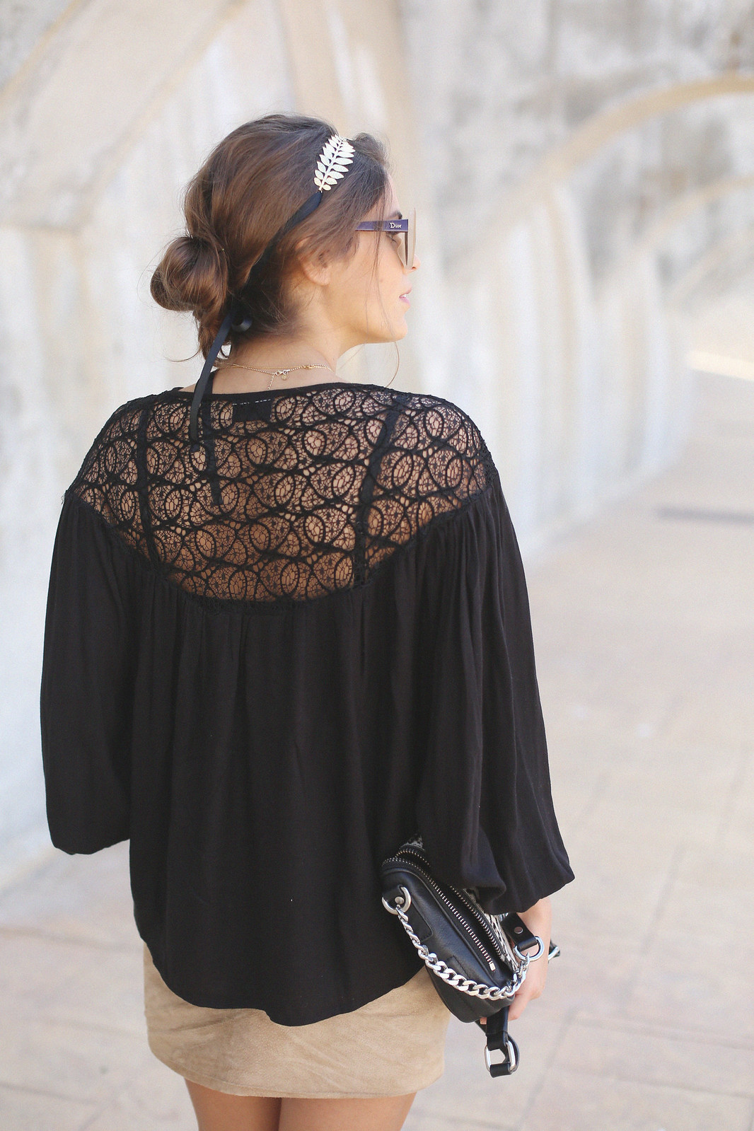 7.black boho top camel suede skirt gladiator sandals golden headband seams for a desire jessie chanes