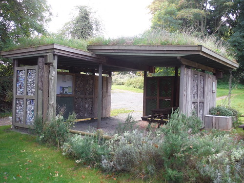 Recycled Shelters by a Picnic Area