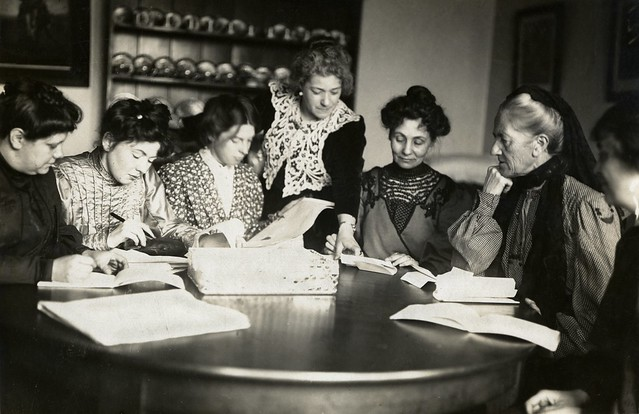 Meeting of Women's Social & Political Union (WSPU) leaders, c.1906 - c.1907.