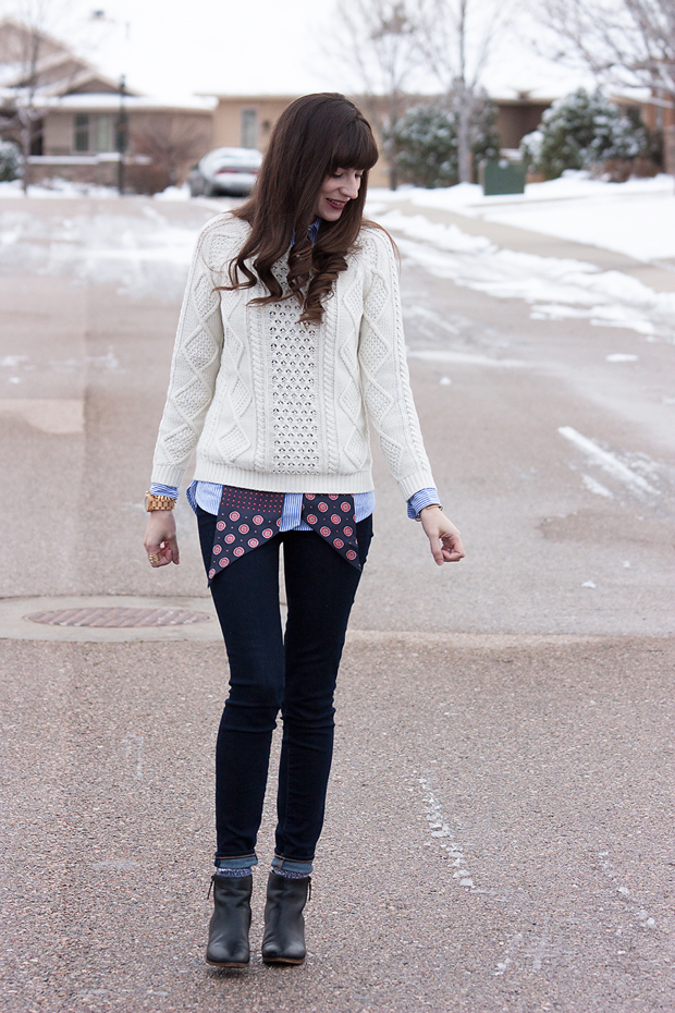 White Cable KnitSweater, Silk Neck Scarf
