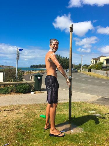 Duschen an den öffentlichen Duschen in den Orten