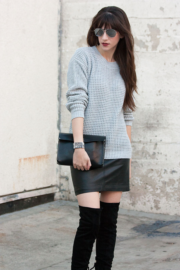 Neutral Outfit, Grey Sweater, Black Mini Skirt