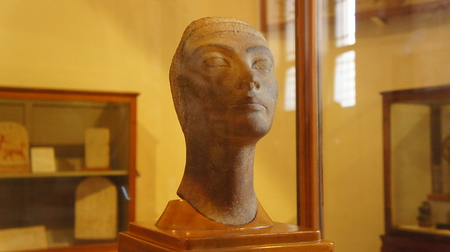 Unfinished bust of Queen Nefertiti of Ancient Egypt