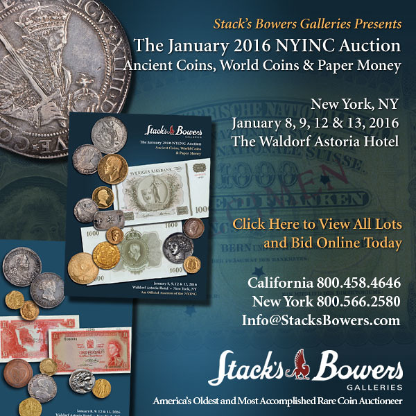 Stacks-Bowers E-Sylum ad 2015-12-20