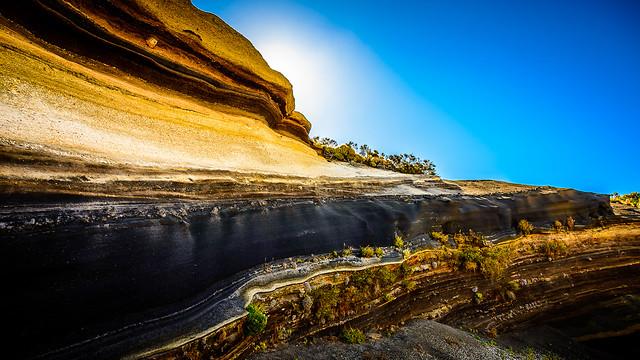 La Tarta. Capas de lava de sucesivas erupciones del Teide