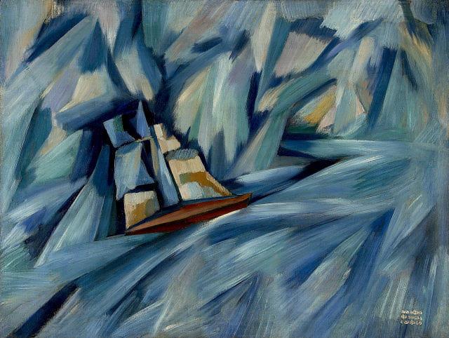 27.- A chalupa, 1914-1915. Óleo sobre tela, Coleçºao do Museu fundação Caloustre Goulbenkian (Coleção Moderna)