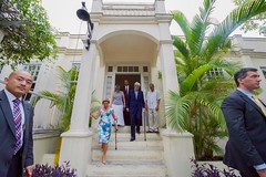 U.S. Secretary of State John Kerry walks down the front steps of Finca Vigia - author Ernest Hemingway's former home in San Francisco de Paula, Cuba - after a tour on August 14, 2015. [State Department photo/ Public Domain]