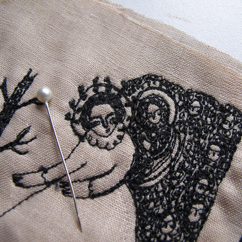 a very close up view of work in progress - miniature embroidery
