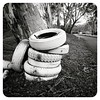 TYRES. Every #March the #billycarts gather in the village to roll down our hill. Stacks of white #tyres line the roadside as a constant reminder of this event.  #Harrow #westwimmera #Wimmera #Grampians #Victoria #Australia #glenelgriver #billycart #onlyin