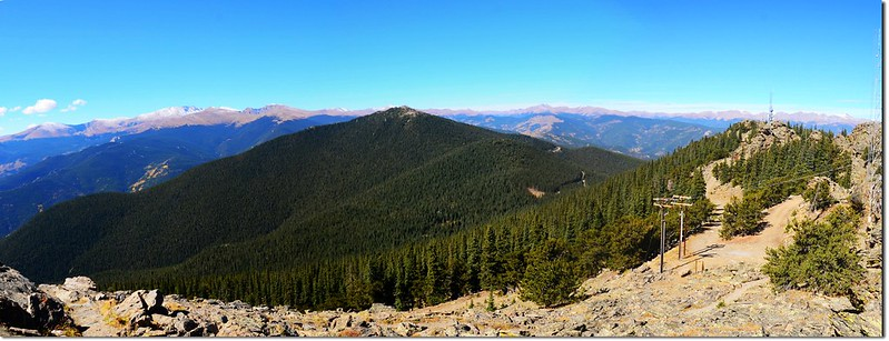 View west into Mount Evans & James Peak Wilderness from the summit of Squaw Mountain