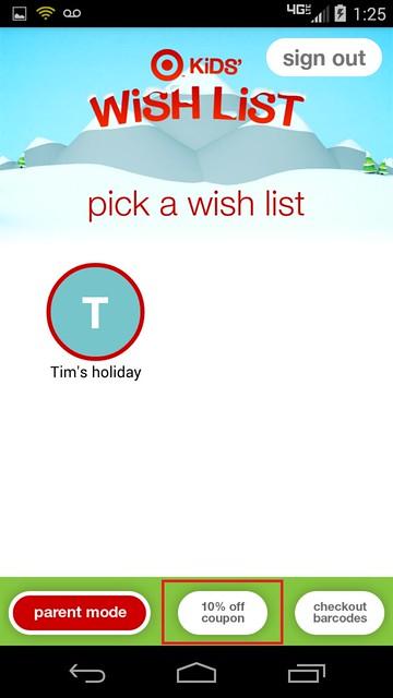 Target Kid's Wish List App