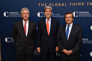 Secretary Kerry Poses for a Photo With Carnegie Endowment President Burns and Petrofac Chief Executive Asfari at the Carnegie Endowment in Washington