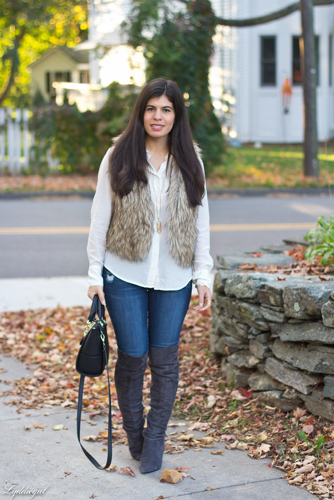 white blouse, fur vest, over the knee boots-2.jpg