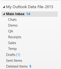 Outlook 2013 screen shot showing nested email folders.