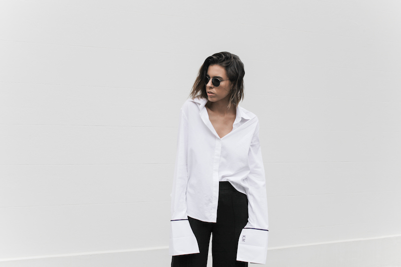black and white, street style, off duty, oversized French cuff shirt, Anna Quan, wide leg pant, monochrome, fashion blogger, modern legacy