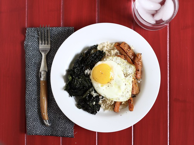Brown Rice Bowls with Roasted Carrots, Crispy Kale, and Fried Eggs