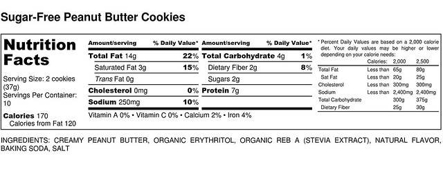 Sugar-Free Peanut Butter Cookies - Nutrition Label