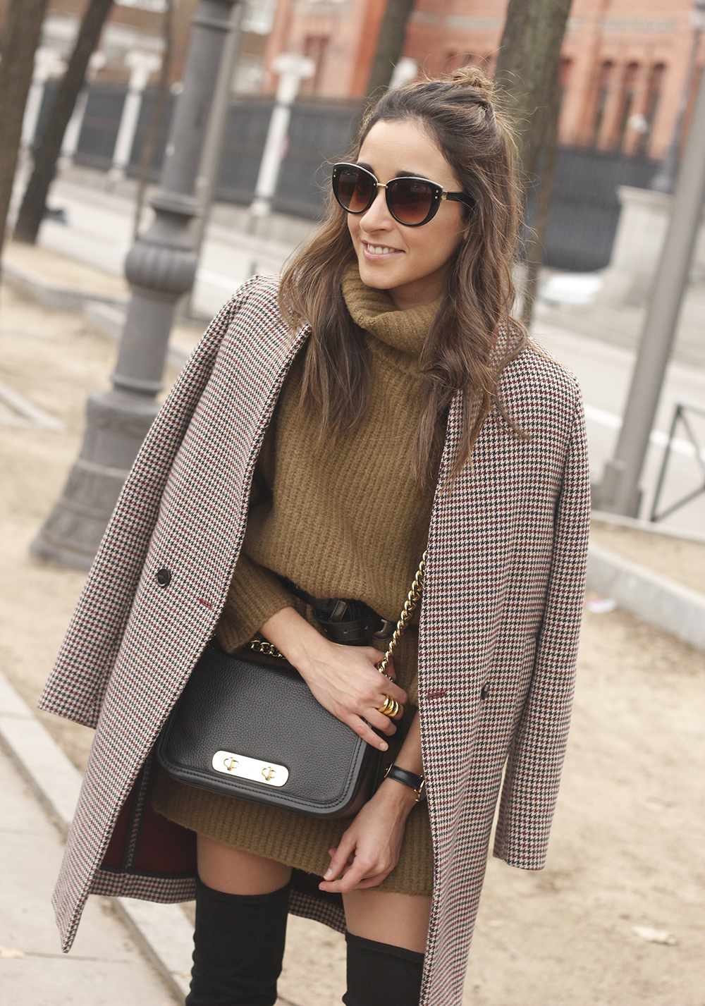 Turtleneck Dress over the knee boots coat sunnies coach bag style fashion outfit12