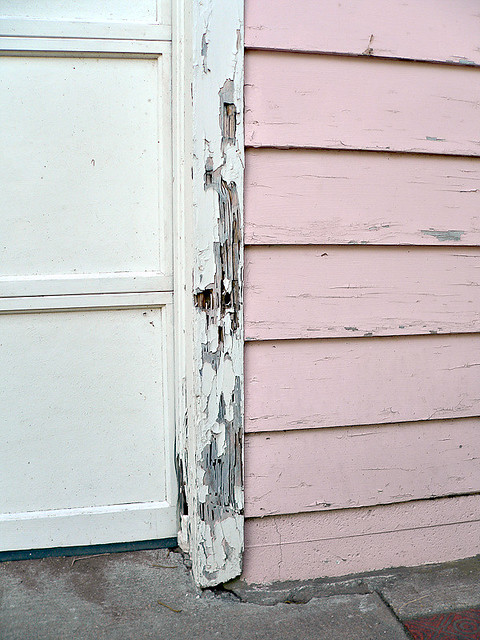 Pink garage door frame flickr photo sharing for Garage side door and frame