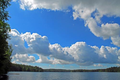 blue summer sky cloud lake nature clouds finland landscape nikon d200 nikkor juhannus