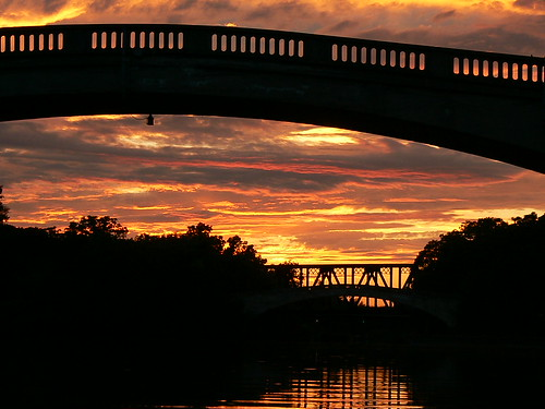 bridge sunset summer sky orange cloud sun ny newyork black reflection water river canal intense published contest scenic upstate rochester winner raft psychedelic float genesee wny eriecanal geneseevalleypark dandangler capturerochester westernnewyorkphotos