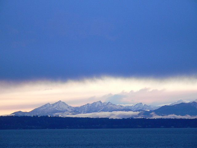 Olympic mountain range with Puget Sound, Seattle, WA ...